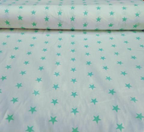 Бязь модная. Мятные звезды на белом фоне