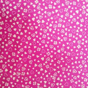 Бязь Ranforce белые сердечки на ярко-розовом фоне