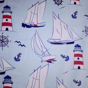 Бязь Ranforce морская тема, Парусники на голубом фоне