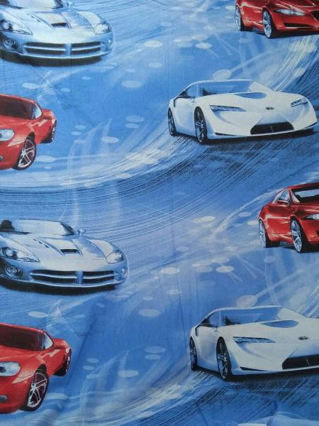 Бязь детская. ГОСТ красные и синие машины на голубом фоне