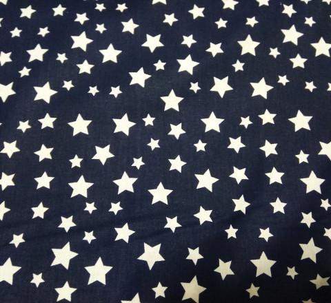 Бязь Ranforce белые звезды на темно-синем фоне
