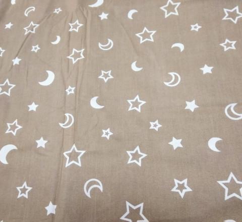 Поплин. Луна и звезды на кофейном фоне