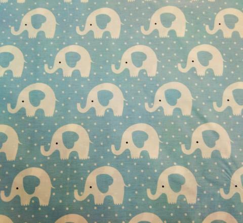 Бязь Ranforce белые слоны на голубом фоне
