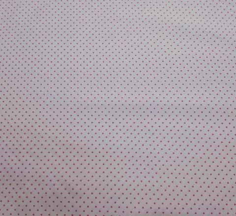 Бязь Ranforce ярко-розовые горошки на белом фоне маленькие редкие
