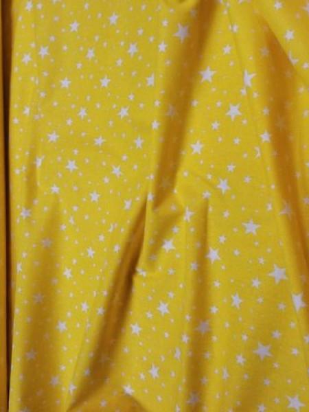 Бязь модная. Белые звездочки на желтом фоне