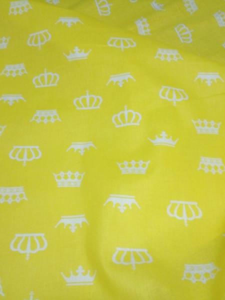 Бязь модная. Белые короны на желтом фоне