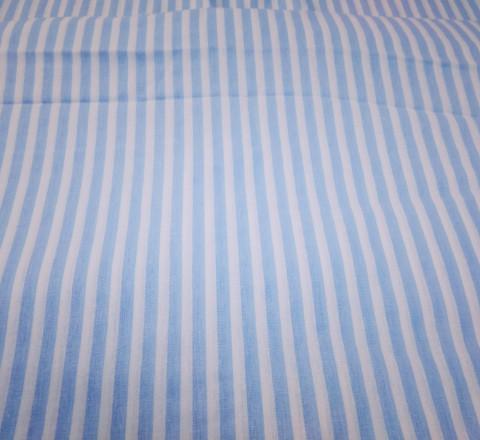 Бязь модная. Голубо-белая полоса широкая