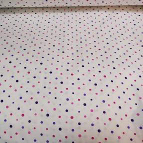 Бязь Ranforce розово-фиолетовые горошки