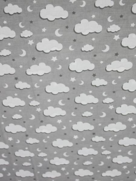 Бязь Ranforce белые облака на светло-сером средние