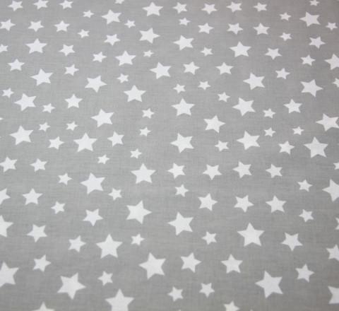 Бязь Ranforce белые звезды на светло-сером фоне
