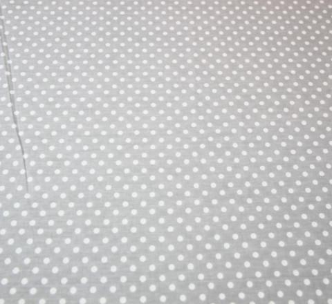 Бязь Ranforce белый горох на светло-сером фоне крупный