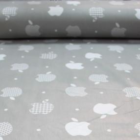 Бязь Ranforce apple на светло-сером фоне