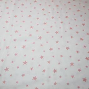 Бязь Ranforce розовые звезды на белом фоне средние
