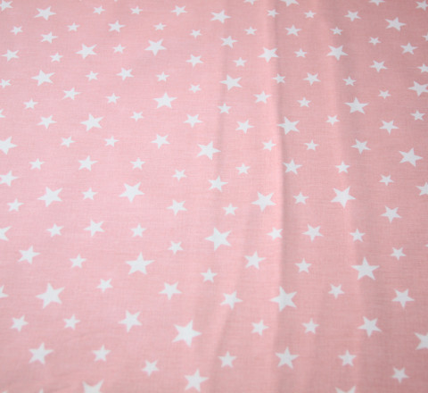Бязь Ranforce белые звезды на розовом фоне средние