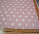 Бязь Ranforce белые звезды на пыльно-розовом фоне крупные