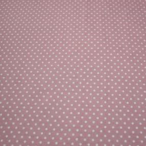 Бязь Ranforce белый горох на пыльно-розовом фоне средний