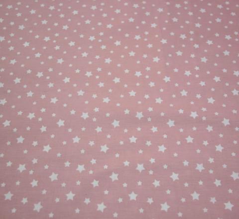 Бязь Ranforce белые звезды на пыльно-розовом фоне маленькие