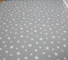 Бязь Ranforce белые звезды на сером фоне средние