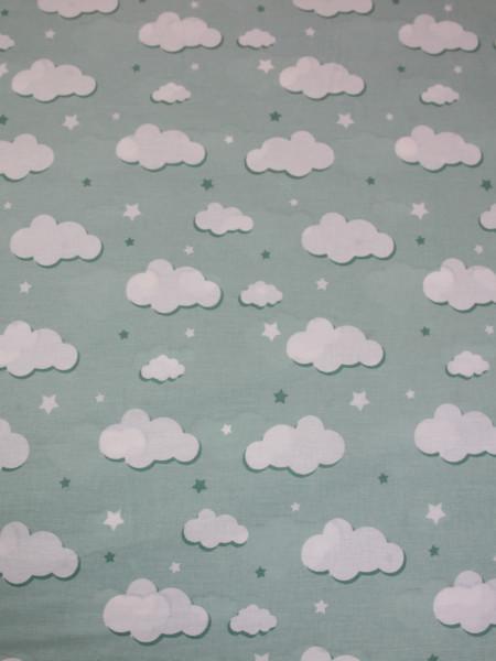 Бязь Ranforce белые облака на мятном фоне маленькие