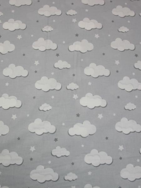 Бязь Ranforce белые облака на светло-сером фоне маленькие