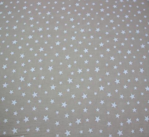 Бязь Ranforce белые звезды на карамельном фоне средние