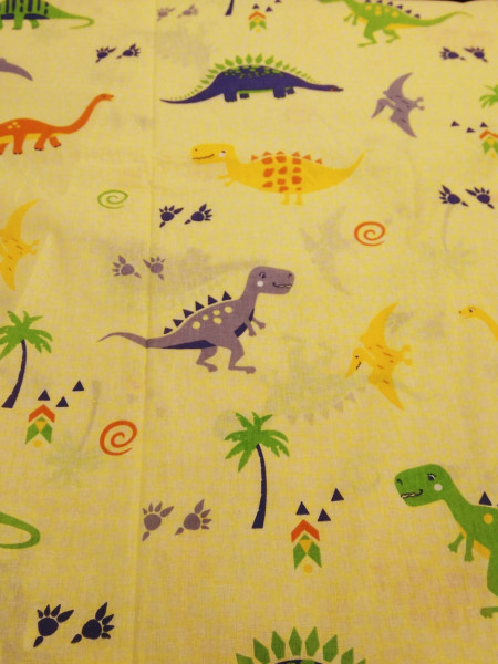 Бязь детская. Динозаврики на желтом фоне