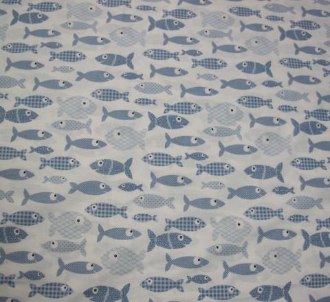 Бязь Ranforce голубые рыбы на белом фоне