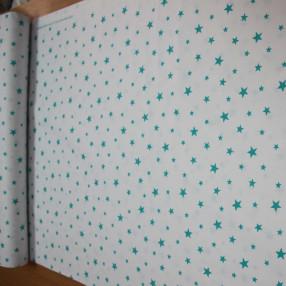 Бязь Ranforce бирюзовые звезды на белом фоне средние