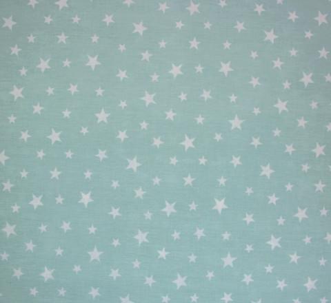 Бязь Ranforce белые звезды на мятном фоне средние