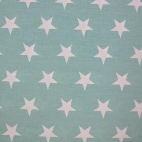 Бязь Ranforce белые звезды на мятном фоне крупные