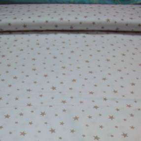 Бязь Ranforce кофейные звезды на белом фоне маленькие