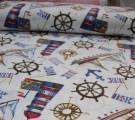 Бязь Ranforce морская тема, цветные маяки