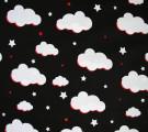 Бязь Ranforce крупные облака на черном фоне