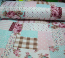 Бязь Ranforce мятно-розовый пэчворк
