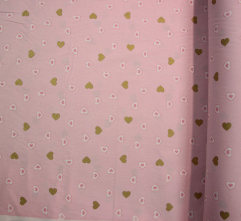 Бязь Ranforce сердечки на розовом фоне с золотым глиттером