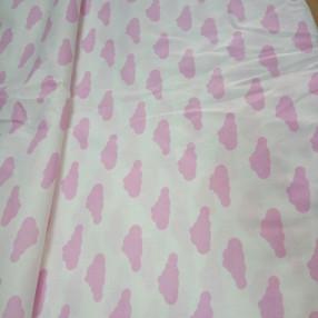 Бязь модная. Розовые облака на белом фоне