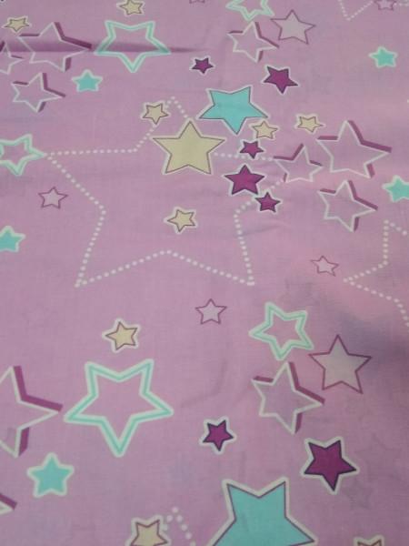 Бязь детская. Звезды на розовом. Компаньон к радужным Пони