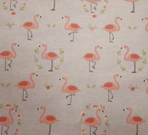 Бязь Ranforce розовые фламинго на сером фоне