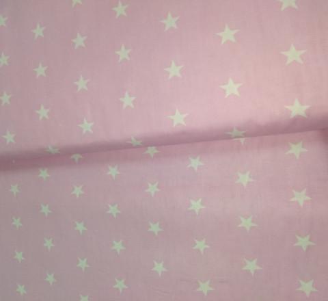 Бязь модная. Белые звезды на розовом фоне