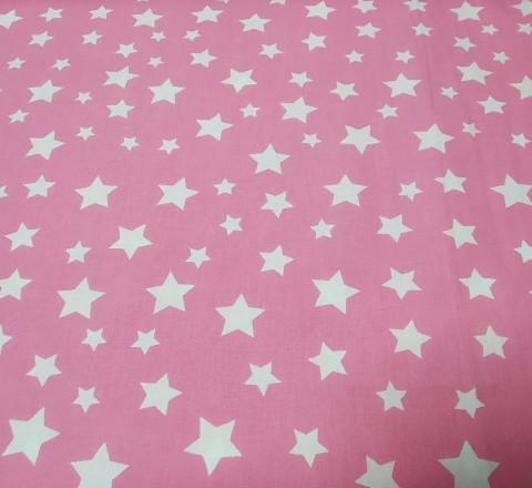 Бязь Ranforce белые звезды на розовом ярком фоне