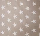 Бязь Ranforce белые звезды на кофейном фоне крупные