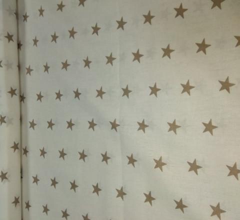 Бязь модная. Кофейные звезды на белом фоне