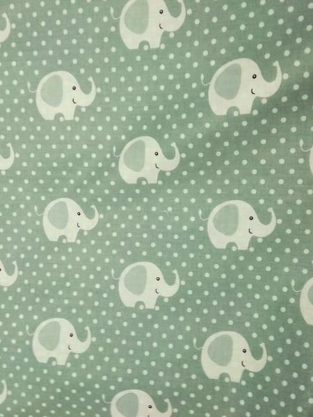 Бязь Ranforce белые слоны на пыльно-зеленом фоне
