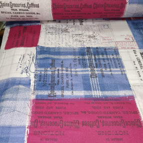 Бязь Ranforce малиново-синяя газета