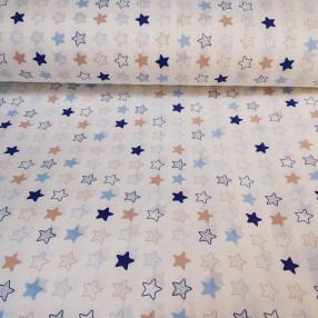 Бязь Ranforce синие и оранжевые звезды