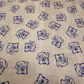 Поплин. Синие мишки на белом фоне