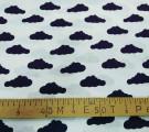 Бязь модная. Черные облака на белом фоне
