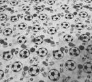 Бязь детская. Футбольные мячи на белом фоне