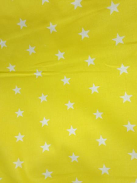 Бязь модная. Белые звезды на желтом фоне