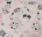Бязь Ranforce коты на светло-розовом фоне